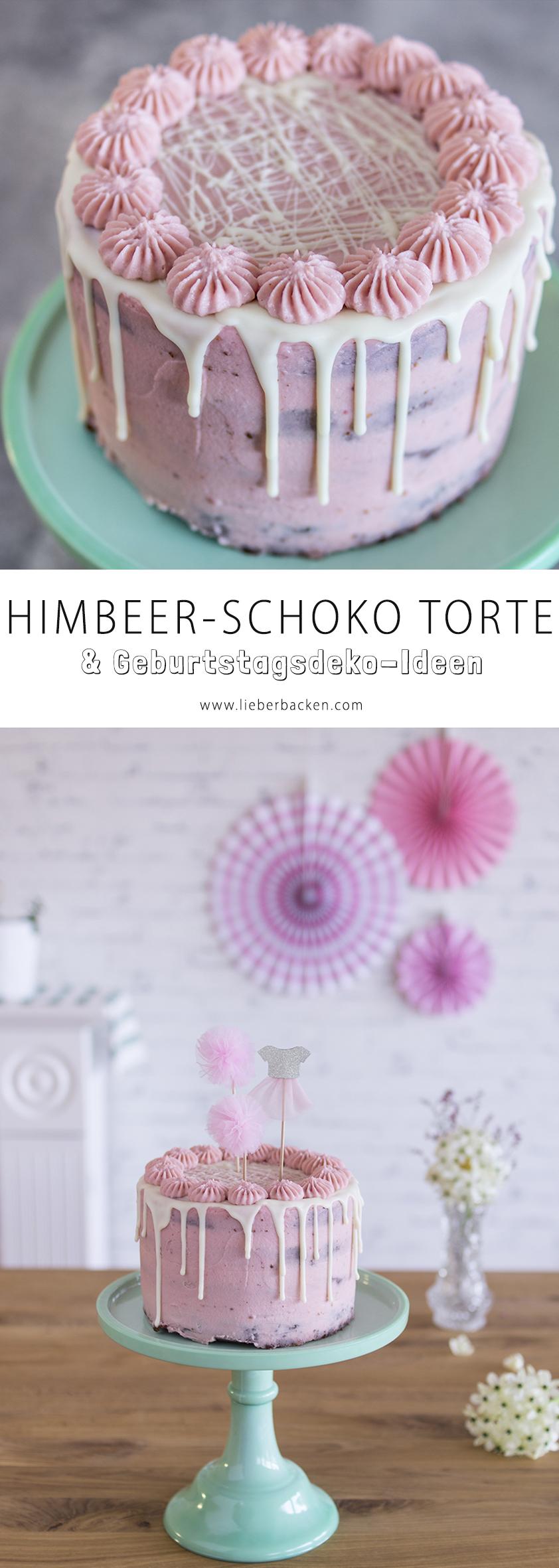 Himbeer Schoko Torte und Geburtstagsdeko-Ideen für einen Mädchen-Geburtstag