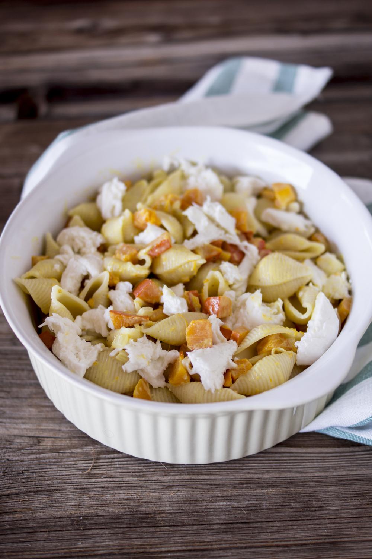 Einfaches Kürbisgericht - Conchiglie Rigate überbacken mit Mozzarella | leckeres Rezept