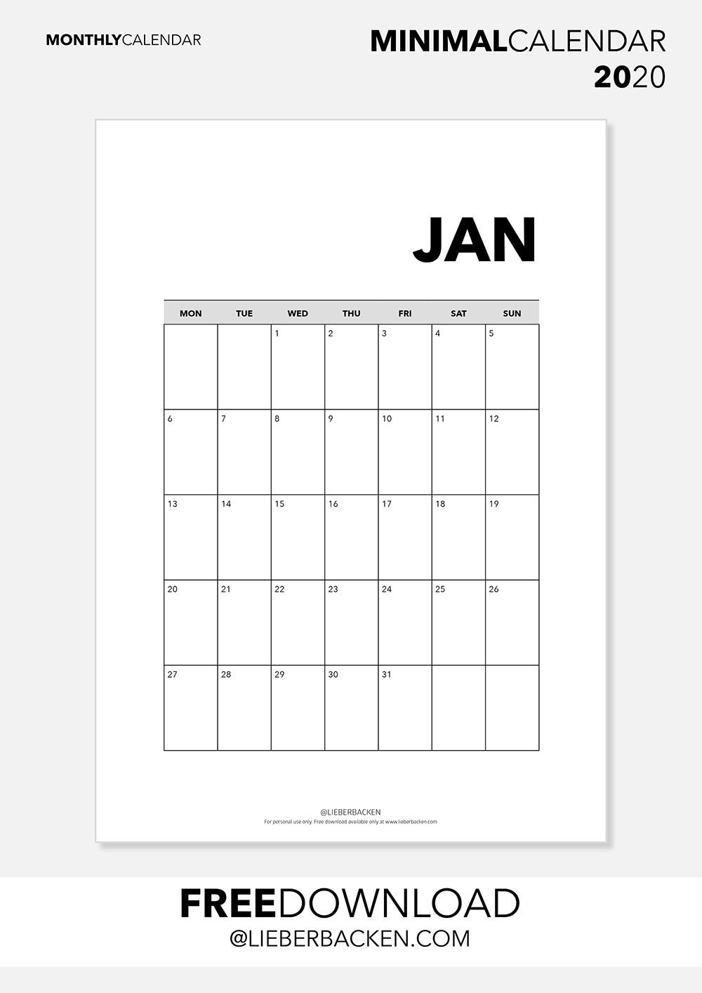 Monthly Overview - Free Printable Calender 2020 | Gratis Download Kalender 2020