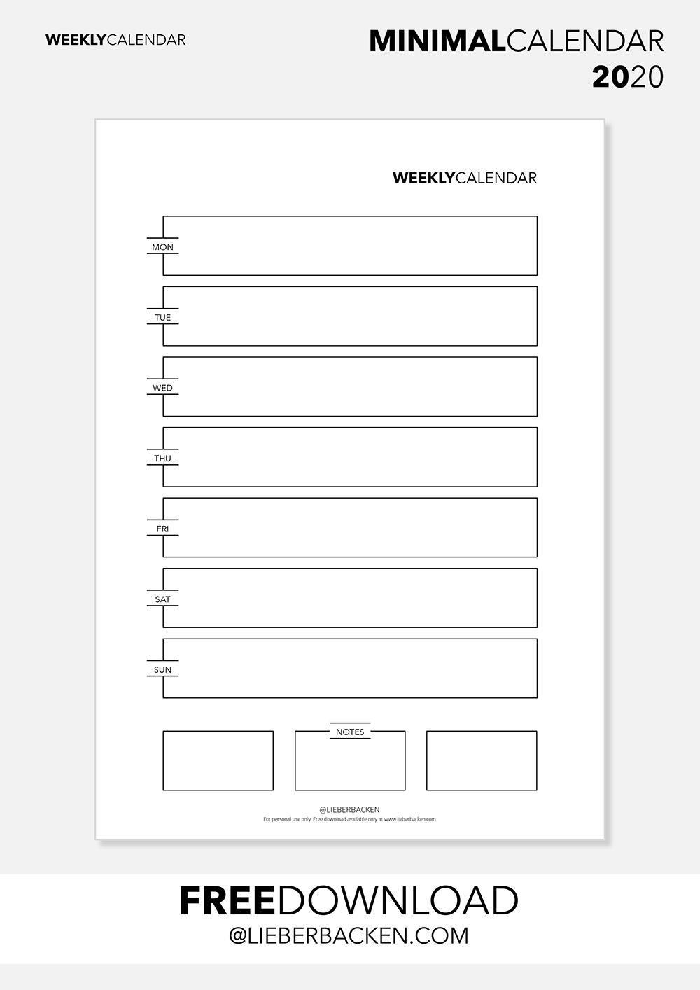 Weekly Calender - Free Printable Calender 2020 | Gratis Download Kalender 2020