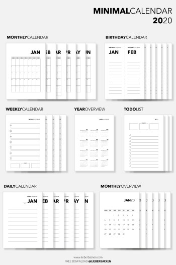 Free Printable: Minimal Calendar 2020 | Gratis Download zum Ausdrucken: Kalender 2020