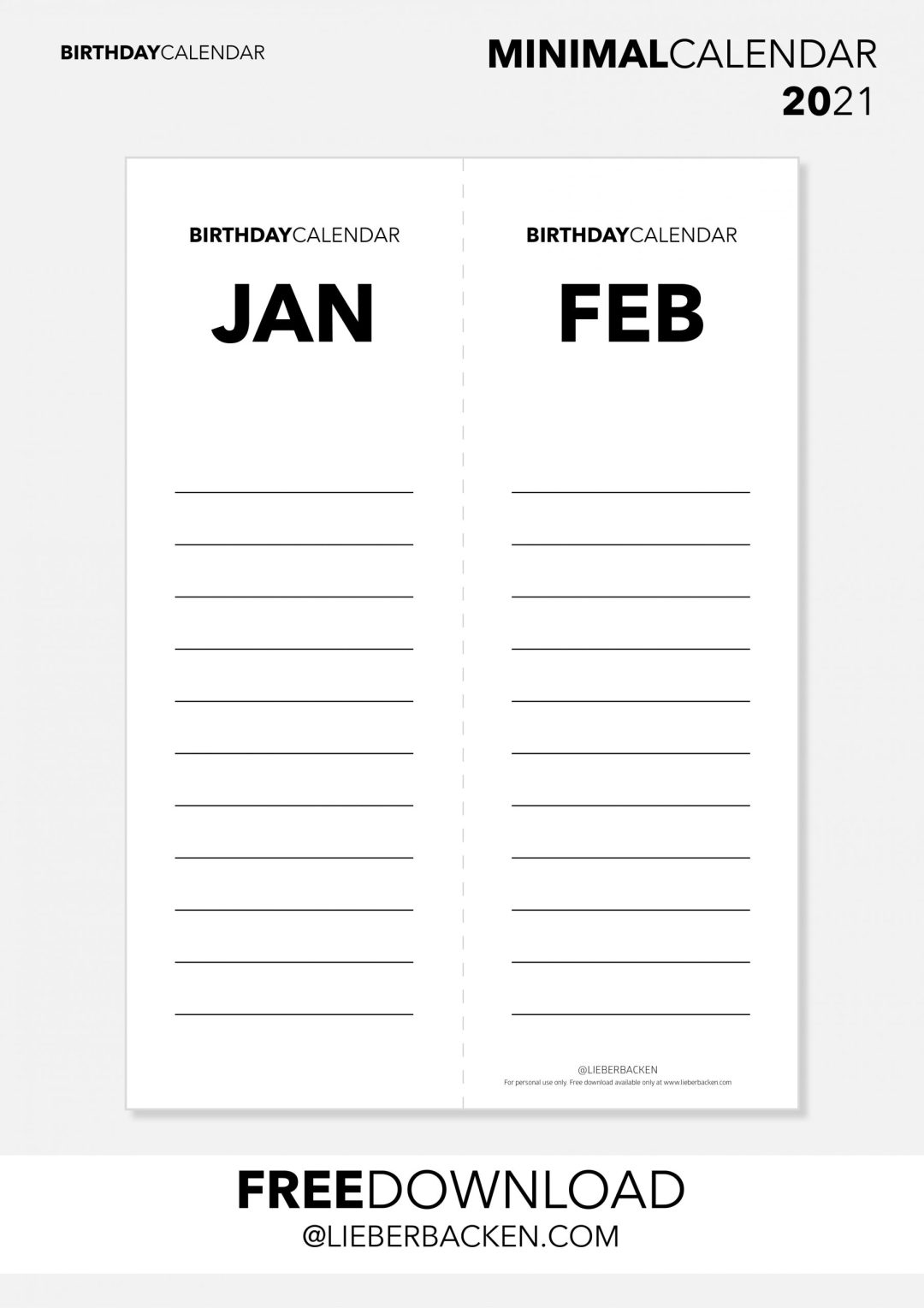 Free Printables: MINIMAL CALENDAR 2021 | Birthday Calender #freedownload