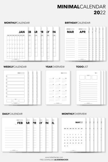 Gratis Kalender 2022 - Free Planner 2022 | Minimal Calendar Free Download