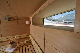 Sauna mit Blick auf die Piste