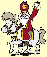 Sinterklaas op zijn witte paard