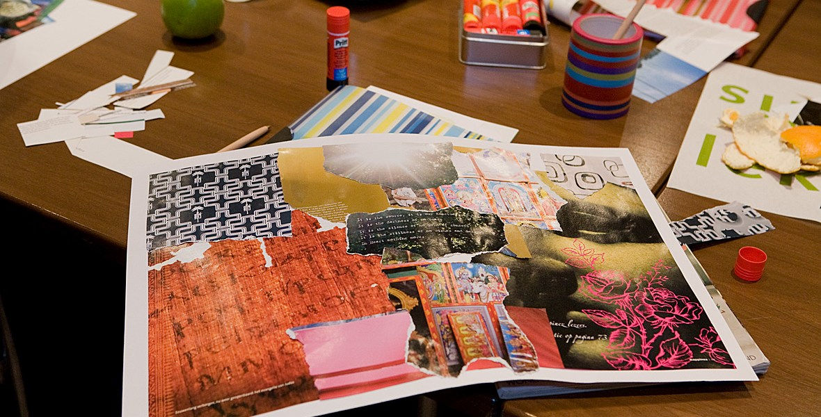 Sfeerimpressie van collage in workshop over kleur