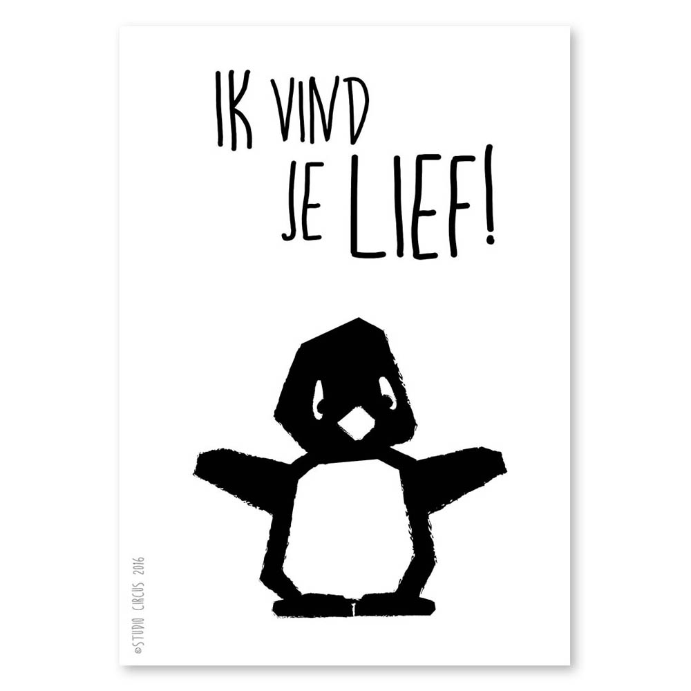 hight resolution of studio circus poster a4 pinguin ik vind je lief
