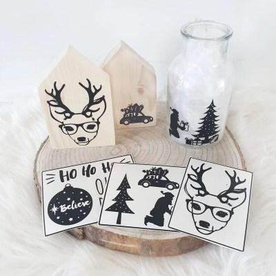 Kerstdecoratie zelfmaken met stickers zwart wit