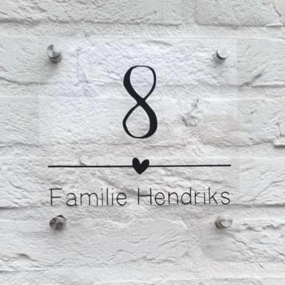 naambordje huisnummer met streep