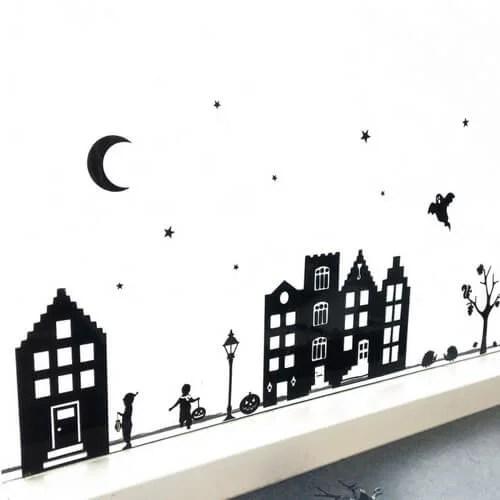 Straatje raam halloween en 11 november