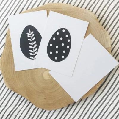 Pasen decoratie zwart wit kaarten
