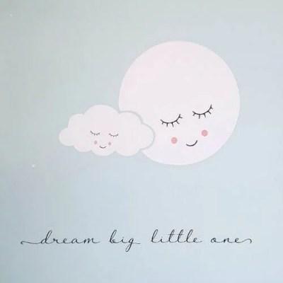 Muursticker dream big maan en wolk