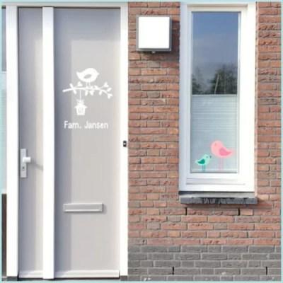 Naamsticker voordeur vogeltjes