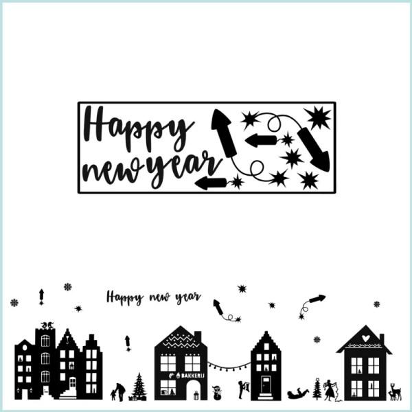 Happy ney year raamstickers straatje