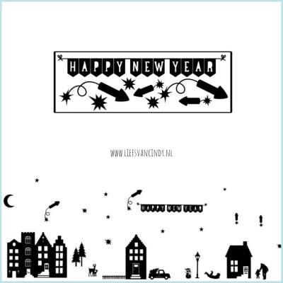 Raamstraatje plaatjes happy new year oud en nieuw