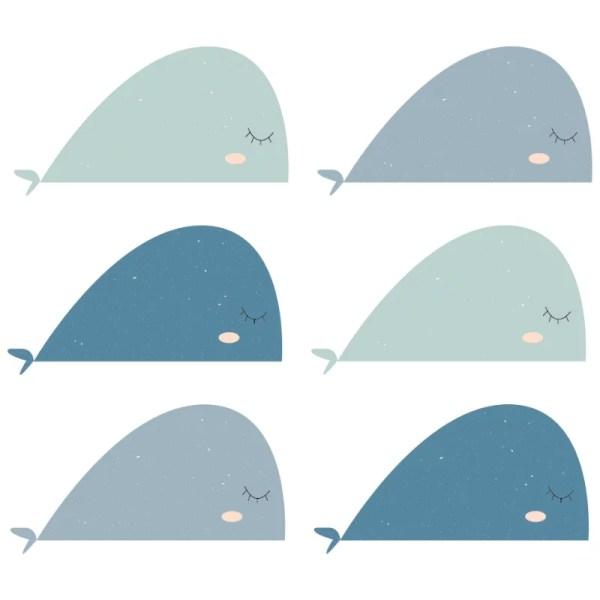 Walvis muurstickers mint blauw