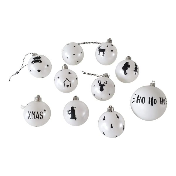 Hippe kerstballen zwart wit