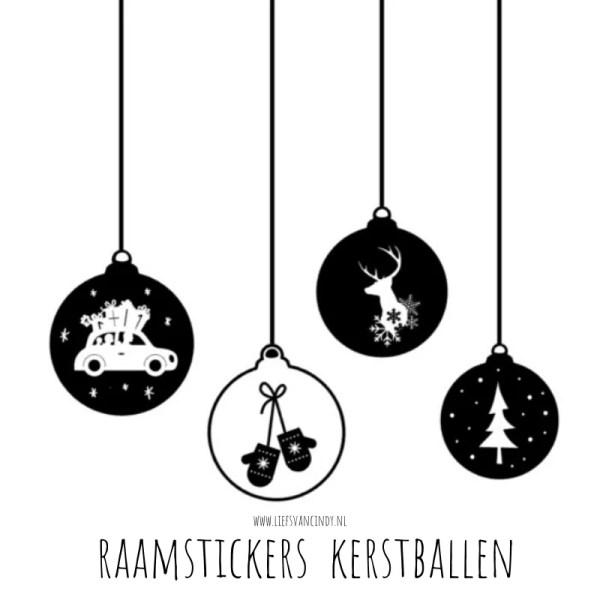 Raamstickers kerstballen zwart wit kerstdecoratie