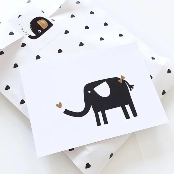 Kaart olifant zwart en goud