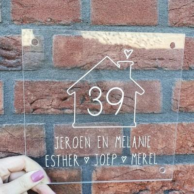Naambordje huisje en huisnummer