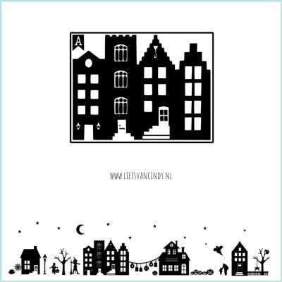 Huisjes raam winter sint kerst grachtenpandje