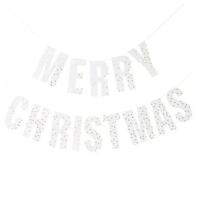 Merry chirtsmas slinger wit goud