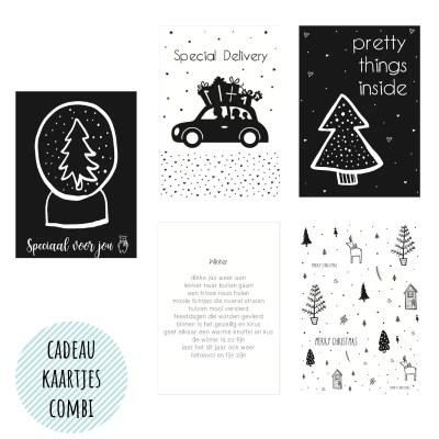 kerst cadeau kaartjes zwart wit