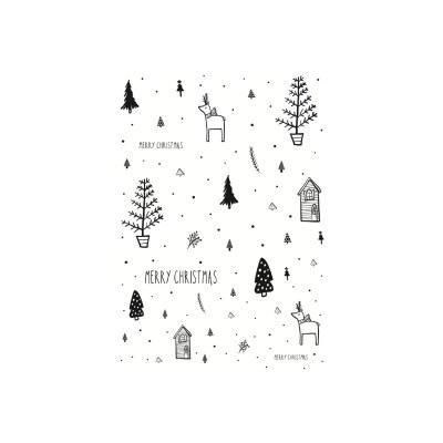 cadeaukaartjes kerst zwart wit