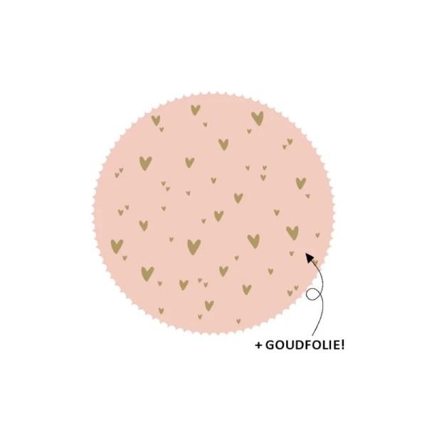 Sluitsticker roze met gouden hartjes