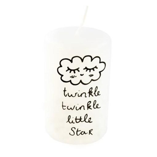 Twinkel Twinkel little star Een mooie zwart/witte kaars met de tekst Twinkle Twinkle little star van het merk Rustik Lys.