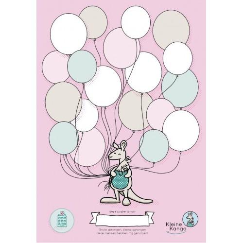 NICU poster ballonnen roze, kleine kanga, liefsvanlauren.nl