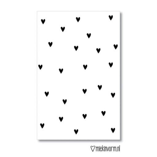 mini kaartje kleine hartjes, miekinvorm, liefsvanlauren.nl