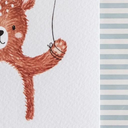 Kaart beer met ballon, kinderlijn, carmens tekentafel, herinneringen, liefsvanlauren.nl