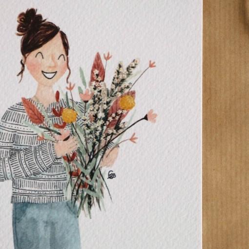 Kaart bos bloemen, bloemetje voor jou, carmens tekentafel, liefsvanlauren.nl