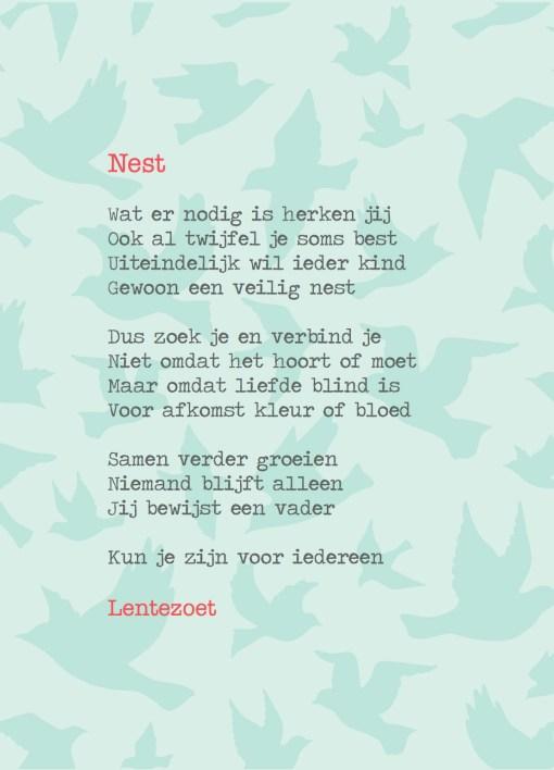 Nest vader, gedicht lentezoen, pleegzorg, adoptie, liefsvanlauren.nl