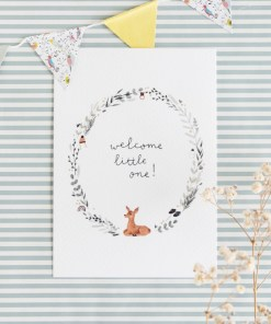 Kaart welcome little one, Carmens tekentafel, geboorte, stationary, liefsvanlauren.nl