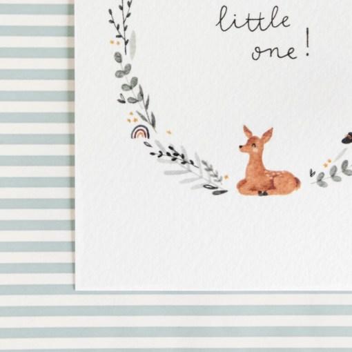 Kaart welcome little one, Carmens tekentafel, geboorte, stationary, liefsvanlauren.nl