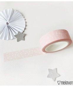 Washi tape roze met witte vlekjes, tape, miekinvorm, masking tape, liefsvanlauren.nl
