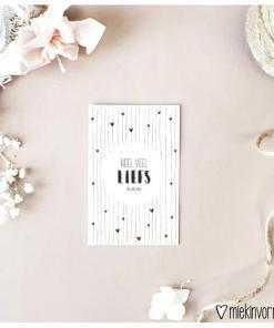 heel veel liefs voor jou met hartje, mini kaartje, kaartje liefs, miekinvorm, liefsvanlauren.nl
