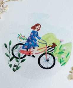 kaart fiets, Carmens Tekentafel, Aquarel, Natuur, Fietsen, liefsvanlauren.nl