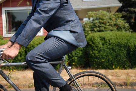 Tony Pereira won a custom, bespoke suit made for bicycling.  The suit was made by famous designer Timothy Everett as part of a collaboration with Rapha cycling apparel.  Tony won the suit at last year's Oregon Manifest Design Challenge.
