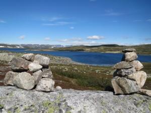 Noorwegen,Hardangervidda,torentjes,stenen,zon,imposant