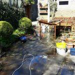 tuinbanken,hogedrukspuit,voorjaar,april 2016,zon