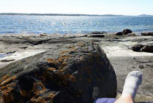 Zweden,Tjörn,Berga,zee,zon,zwaluwen,golven,wind,mei,2016,linker voet