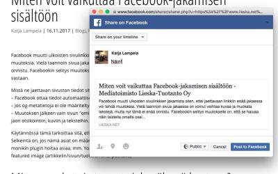 Miten voit vaikuttaa Facebook-jakamisen sisältöön