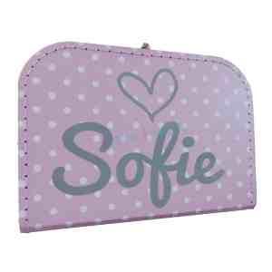 Koffer met naam roze