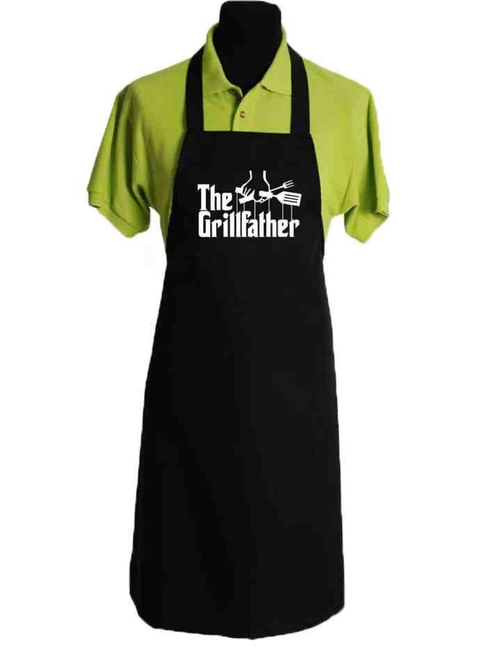 Kookschort met naam zwart Grillfather