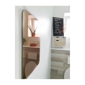 Koperen spiegel toilet Xenos letterbord