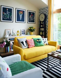 colourful home decor yellow couch room