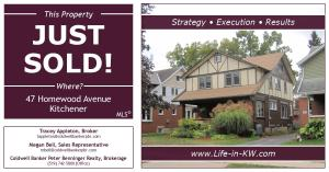Just Sold on Homewood Avenue! (Victoria Park area in Kitchener)